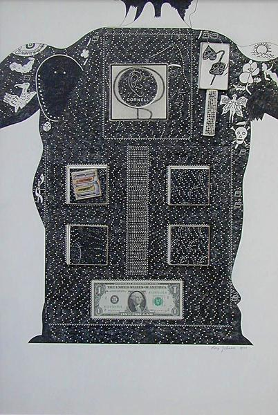 Cornell Dollar Bill, 1970 collage on illustration board 30.5 x 21 inches 77.47 x 52.38 cm. Collection of San Francisco Museum of Art, California