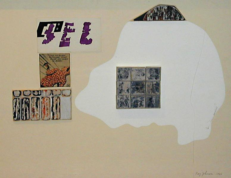 Untitled Leopardman , 1966 collage on cardboard panel 15 x 19.75 inches 38.1 x 50.2 cm