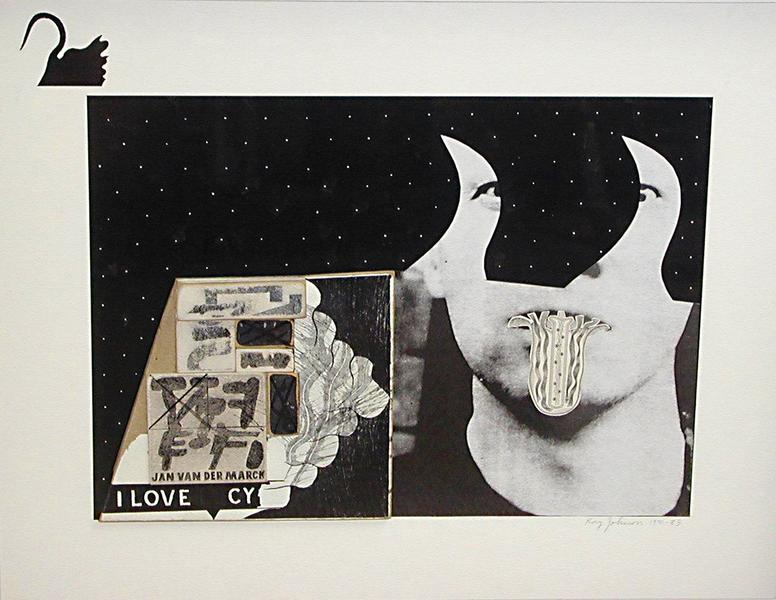 Untitled (I Love Cy), 1970-85 collage on illustration board 13.5 x 17 inches (34.3 x 43.2 cm.)
