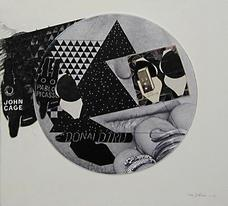 Ray Johnson, Untitled Johnson Face and Fingers with Cage and Picasso Bunnies , 1972, 1990 , collage on cardboard panel, 17.75 x 17.50 inches