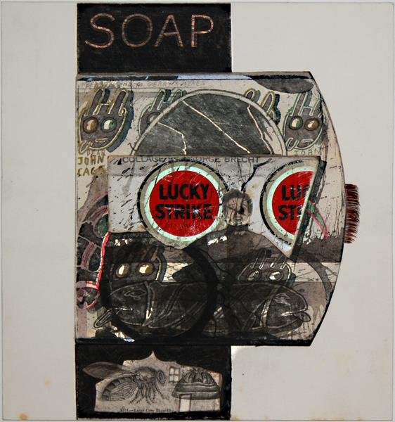 collage by ray johnson untitled soap lucky strike undated