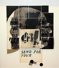 Ray Johnson, <i>Untitled (Send For Your)</i>, collage on masonite, 16 by 13-7/8 inches.