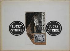 Untitled Lucky Strike with Dear P. Klee Card , 6.9.94 collage on bookboard 8.625 x 11.25 inches 21.9 x 28.6 cm