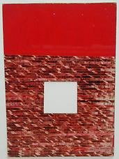 Untitled Moticos with Red Ground , 1958, collage on cardboard panel, 11 x 7.5 inches