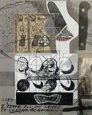 Ray Johnson, Untitled (I Leave All My Lapins to Elapine de Kooning), 5.5.92, 1.1.88, 12.17.84, 8.12.91, 12.29.92, Collage on cardboard panel, 15 x 12.5 (38.1 x 31.8)