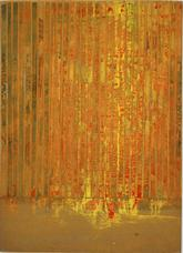 Untitled Moticos with Orange Yellow Paper Strips , circa 1955-1957, collage on cardboard panel, 11 x 7.37