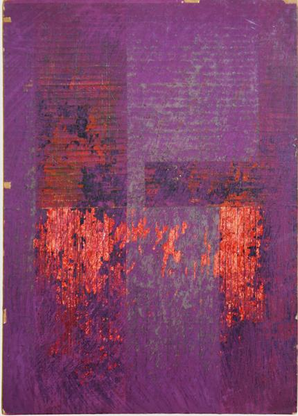 collage by ray johnson untitled Moticos in Purple and Orange circa 1957