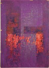 Untitled Moticos in Purple and Orange , circa 1957-58 collage on cardboard panel 11 x 7.5 inches 27.9 x 19.1 cm