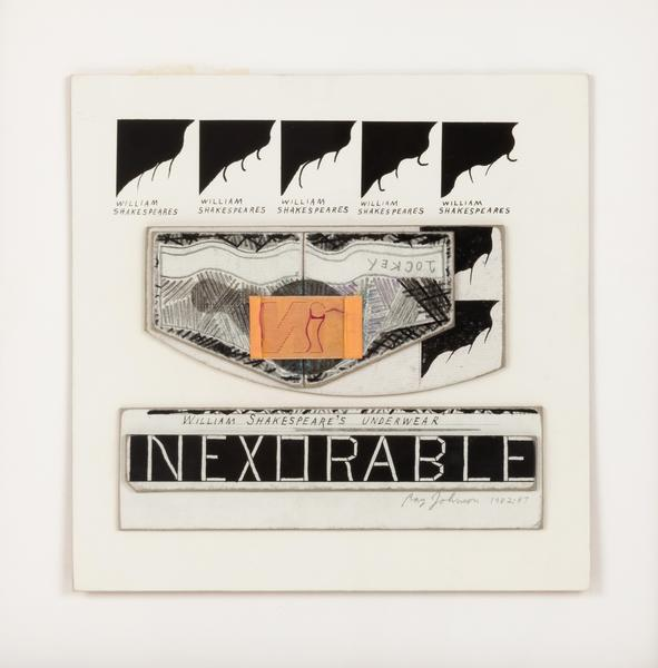 Untitled Inexorable, William Shakespeare s Underwear , 1982-87 collage on illustration board 8.5 x 8.5 inches 21.6 x 21.6 cm