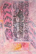 <i>Moticos Panel with Pink Shapes</i>, circa 1956-58. Collage on cardboard panel, 11 x 7-1/2. Richard L. Feigen.