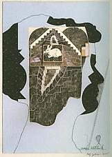 Amei Wallach, 1977. Collage on masonite, 15-7 8 x 15-7 8. Richard L. Feigen