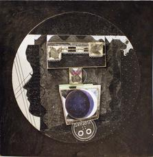 Untitled Holly Solomon with Duchamp and Flop Art , 1975-83-88 collage on masonite 15 x 15 inches 38.1 x 38.1 cm