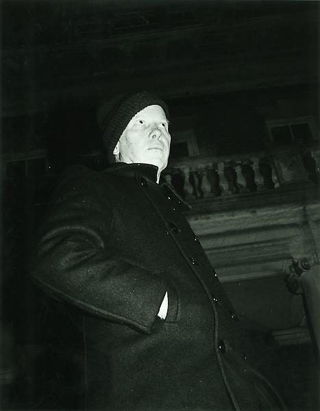 Ray Johnson at the opening of his 1984 show at the Nassau County Museum of Fine Arts. Johnson spent the majority of the night hiding in the bushes outside the of the museum. Photo by Richard P. Meyer