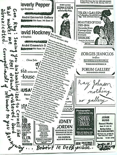 3 - To Ray Johnson - Mail Art & Ephemera - Art - Ray Johnson Estate