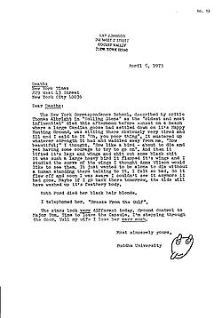 Unpublished letter sent to The New York Times, 1973