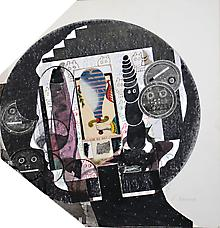 Ray Johnson, Untitled Peter Beard profile with Tarot Card, Cornell Bunnies, and Buddha , 1976-1987-88-89-90, 5.93, 4.16.94 Collage on illustration board 15 by 13.75 inches 38.10 by 34.93 cm
