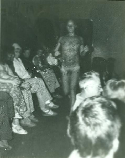 Ray Johnson running naked down the aisles as he is introduced during the opening of an exhibition of his work at the Walker Art Center in 1979. This act was a reference to another Ray Johnson, who had streaked at the Vatican and who Johnson had met previously at the Wadsworth Antheneum. Photographer unknown