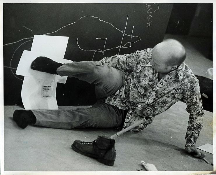 Ray Johnson in NYCS Exhibition and Valentine s Day performance in conjunction with Invitation Correspondence Exhibition, Western Illinois University at Macomb, February 1974. Photograph by John Orandello, Former Professor at WIU