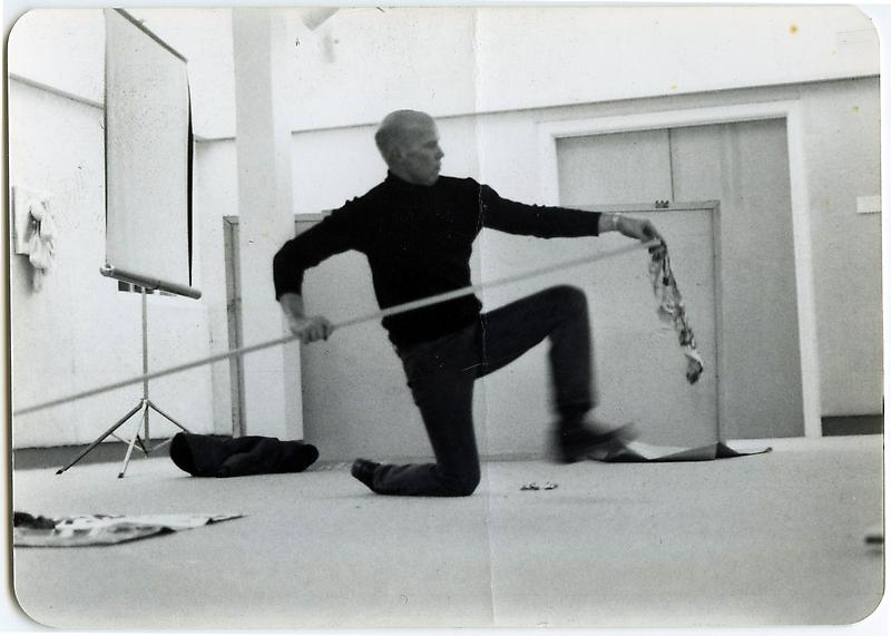 Ray Johnson in Anita O Day Performance , Mount Berry College, Mount Berry Georgia, 1 17 1977. Photographer unknown