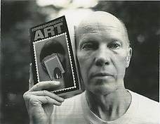 Ray Johnson with Michael Crane s and Mary Stofflet s Correspondence Art book, San Francisco 1984. Photograph by Michael E. Ach