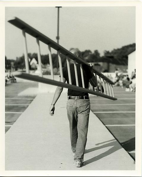 Ray Johnson at Rooftop Event , Brewster Street North Garage, Glen Cove NY, 9 23 84. Photograph by Edvard Lieber