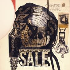 Ray Johnson, <i>Untitled (SALE, Ceci n'est pas une pipe)</i>, collage on illustration board, 15 by 15 inches.
