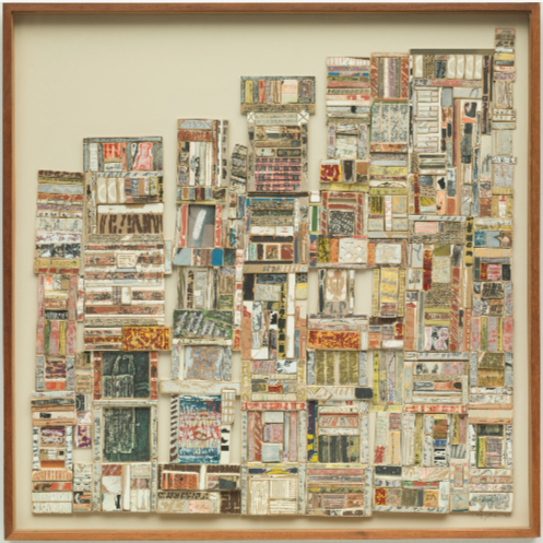 January February, 1966 collage on wood board 30 x 30 inches 76.2 x 76.2 cm. Collection of the Detroit Institute of Art, Michigan