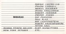Exhibition advertisement in the October 1967 issue of <i>Artforum</i> apparently designed by Ray Johnson.