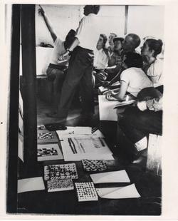 Ray Johnson center right in Josef Albers class at Black Mountain College, c. 1948