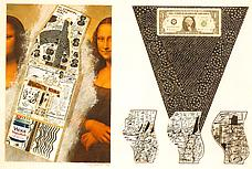 <i>Cervix Dollar Bill</i> 1970 Collage: ink, paint, paper, dollar bill, boards, sandpapered, mounted on painted board. 20 1/16 x 28 7/8 Collection The Corcoran Gallery of Art