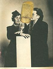 Gala and Salvador Dali with Object collage, ca. 1977