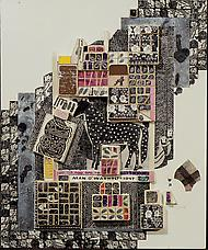 Man O War, 1971-88-94 collage on cardboard panel 22 by 18.5 inches 55.88 by 46.99 cm. Collection of Berkeley Art Museum, California