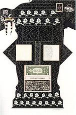 <i>Midnight Cowboy</i> 1970 Collage: ink, paint, crayon, postage stamp, dollar bill, sandpapered, mounted on painted board. 29 3/4 x 19 3/4 Private Collection