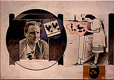 <i>Untitled (Gertrude Stein with 50's Kitchen)</i>, 1975. Collage on illustration board, 16 x 23-1/4 in. Richard L. Feigen.