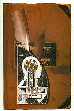 <i>Untitled (I Shot an Arrow Book Cover)</i>, 1979. Collage: ink, paper, feathers on book cover, 14 x 9-3/16 in. Richard L. Feigen.