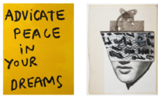 Mark Gonzales, advicate peace in your dreams yellow, 2018, and Ray Johnson, Untitled Elvis Masked With Large Trapezoid and Crowned by Crossed Houses , 1994