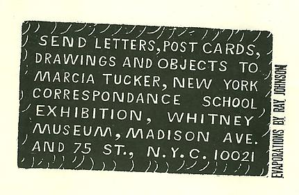 Ray Johnson New York Correspondence School Exhibition